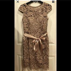 Adrianna Papell embroidered sheath dress mocha 2